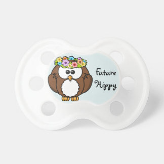 "Adorable Owl that says ""Future Hippy"" Pacifier"