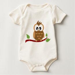 Adorable Owl with Big Eyes Baby Bodysuit