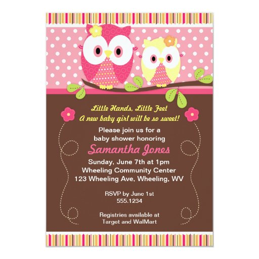 "Adorable Owls Baby Shower Birthday Invitation 5"" X 7"" Invitation Card"