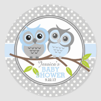 Adorable Owls Baby Shower Classic Round Sticker