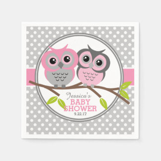 Adorable Owls Baby Shower Napkin