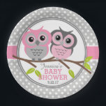 "Adorable Owls Baby Shower Paper Plate<br><div class=""desc"">Super cute little owl design for these matching paper plates.</div>"