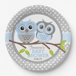 Adorable Owls Baby Shower Paper Plate