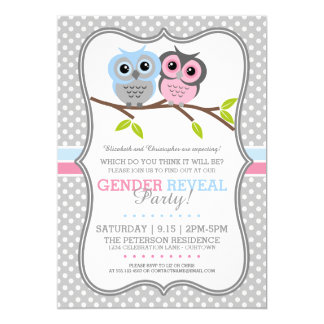 Adorable Owls Gender Reveal Card