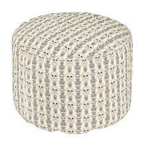 Adorable Owls Pattern on Light Yellow Background Pouf