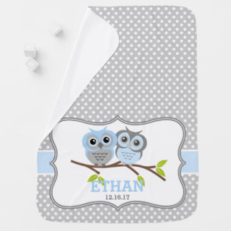 Adorable Owls Personalized Stroller Blanket