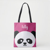 Adorable Panda Bear Animal Pink Kawaii Tote Bag