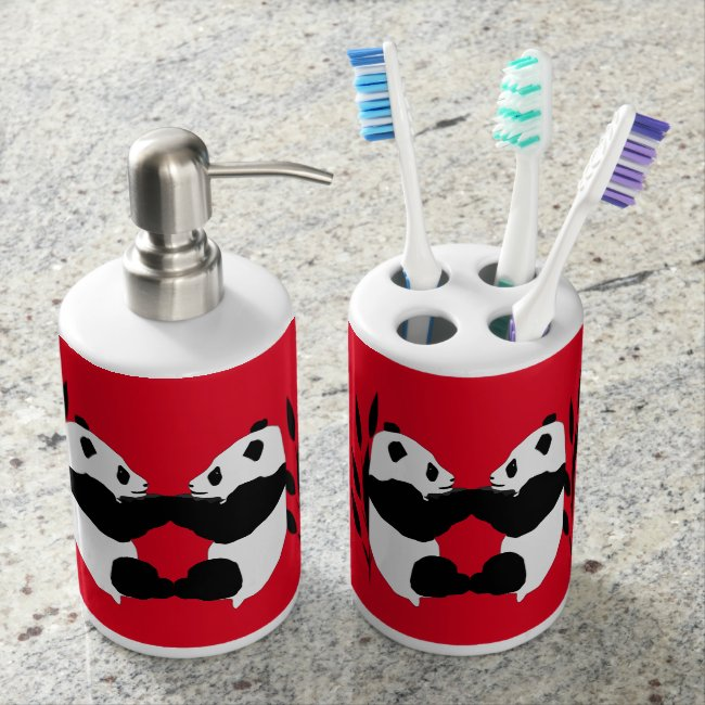 Adorable Panda Bear Animals Red Bathroom Set
