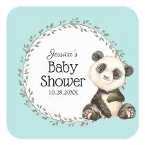 Adorable Panda Bear Baby Shower Square Sticker