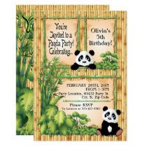 Adorable Panda Bear Birthday Party Invitation