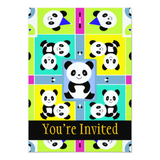 Adorable Panda Bears Bright Colors Card