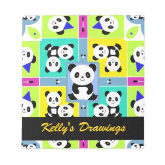 Adorable Panda Bears Bright Colors Note Pad