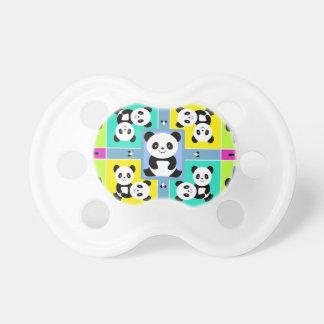 Adorable Panda Bears Bright Colors Pacifier