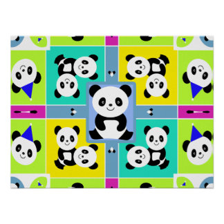 Adorable Panda Bears Bright Colors Posters