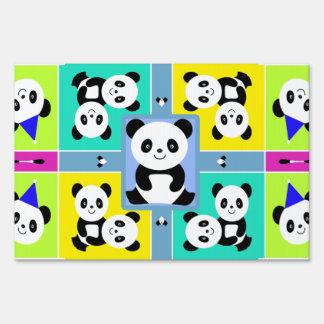 Adorable Panda Bears Bright Colors Sign