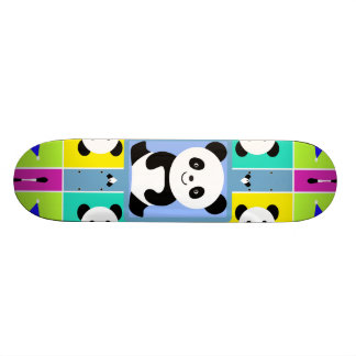 Adorable Panda Bears Bright Colors Skateboard Deck
