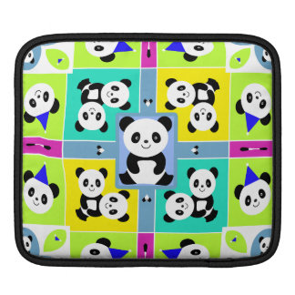 Adorable Panda Bears Bright Colors Sleeve For iPads