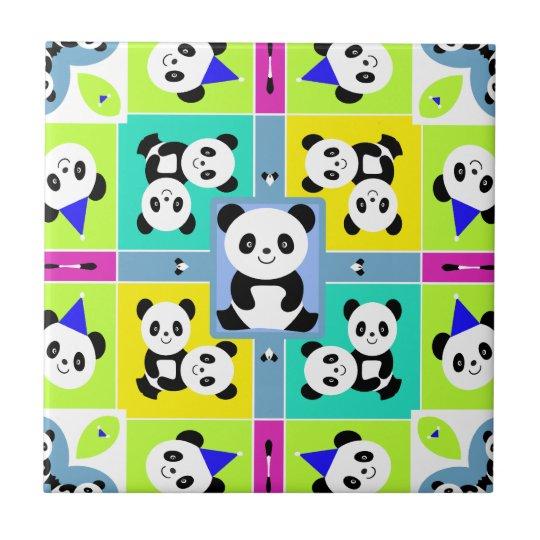 Adorable Panda Bears Bright Colors Tile