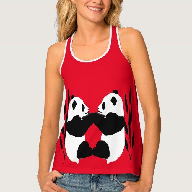 Adorable Panda Bears Red Animal Tank Top