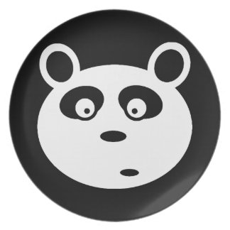 adorable panda white face customizable dinner plate