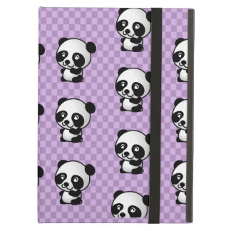 Adorable Panda's On Purple Checked Background iPad Air Cover