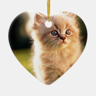 Adorable pare el gatito del movimiento adorno navideño de cerámica en forma de corazón