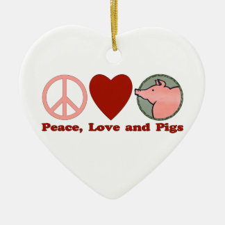 Adorable Peace, Love and Pigs Gifts and Tees Double-Sided Heart Ceramic Christmas Ornament