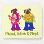 Adorable Peace, Love and Pugs Mousepad