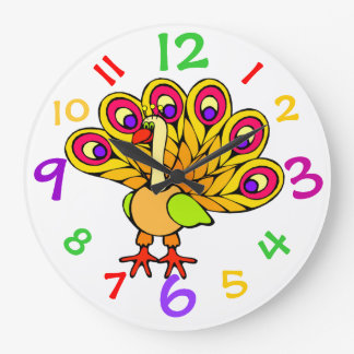 Adorable Peacock Kids Clock With Colorful Numbers