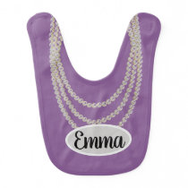 Adorable pearl necklace purple bib with name