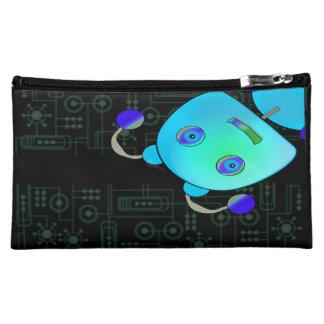 Adorable Peek A Boo Blue Robot Cosmetics Bags