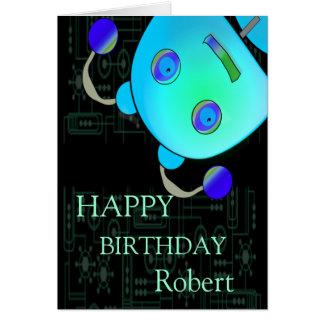 Adorable Peek A Boo Blue Robot Birthday Greeting Card