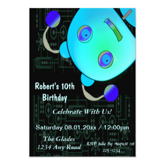 Adorable Peek A Boo Blue Robot Birthday Personalized Announcements