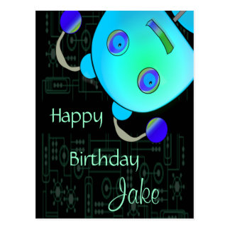 Adorable Peek A Boo Blue Robot Birthday Postcard