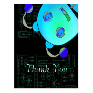 Adorable Peek A Boo Blue Robot Birthday Postcard