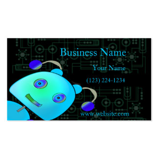 Adorable Peek A Boo Blue Robot Double-Sided Standard Business Cards (Pack Of 100)