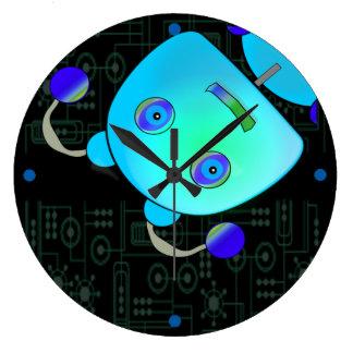 Adorable Peek A Boo Blue Robot Clock