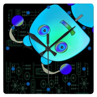 Adorable Peek A Boo Blue Robot Wallclock