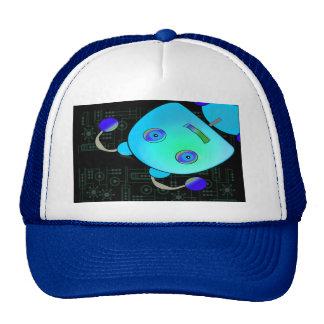 Adorable Peek A Boo Blue Robot Trucker Hat