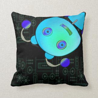 Adorable Peek A Boo Blue Robot Throw Pillows