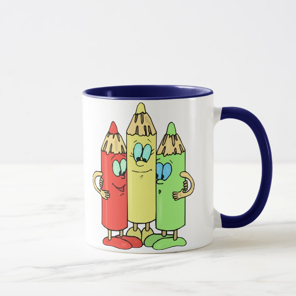 Adorable Pencil Characters Mug