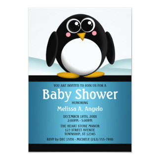 "Adorable Penguin Blue Boy Baby Shower Invitations 5"" X 7"" Invitation Card"