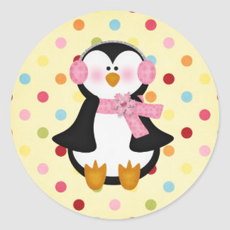 adorable Penguin Classic Round Sticker