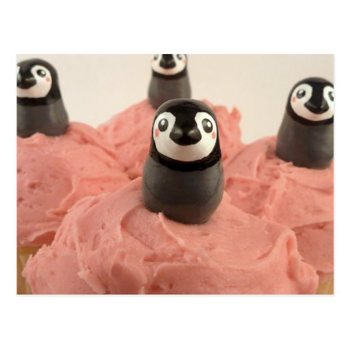 Adorable Penguin Cupcake toppers post card | Zazzle