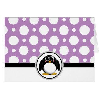 Adorable Penguin custom Purple Polka Dot Cards
