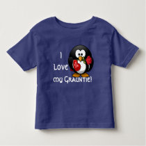 """Adorable penguin declares """"I love my Grauntie!"""" Toddler T-shirt"""