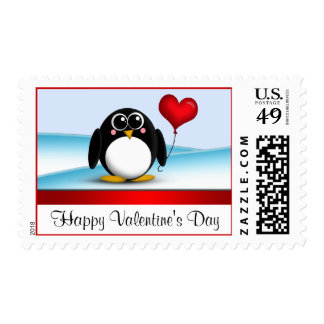 Adorable Penguin Heart Valentine's Day Postage