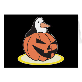 Adorable Penguin in Pumkin Greeting Card
