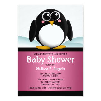 "Adorable Penguin Pink Girl Baby Shower Invitations 5"" X 7"" Invitation Card"