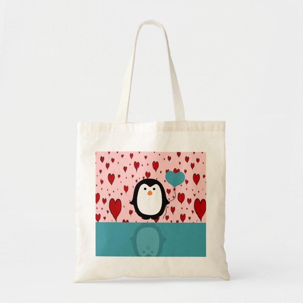 Adorable Penguin with Heart Balloon Bag